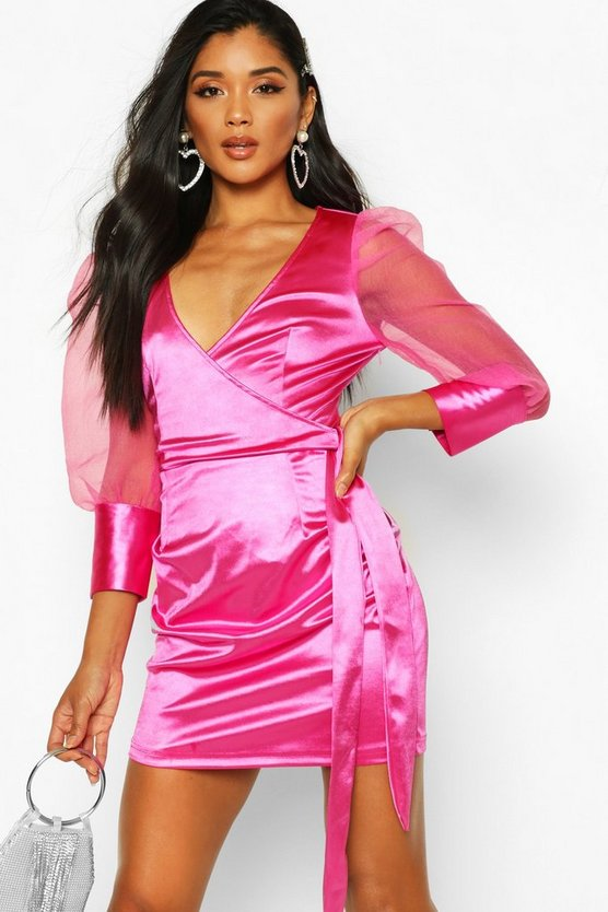 Organza Ruffle Sleeve Mini Dress