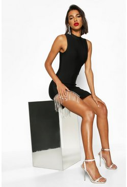 Dam Black Bandage Diamante Trim Bodycon Mini Dress