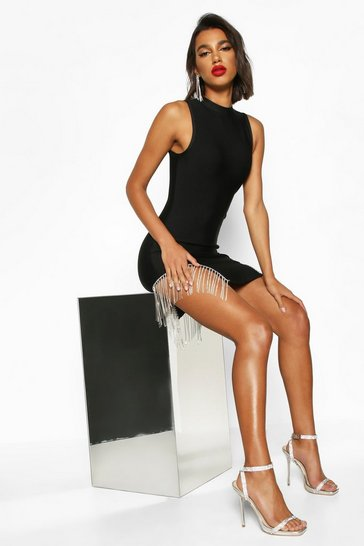 Womens Black Bandage Diamante Trim Bodycon Mini Dress
