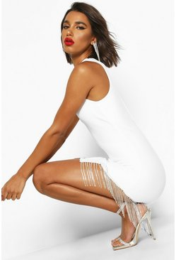 Dam White Bandage Diamante Trim Bodycon Mini Dress