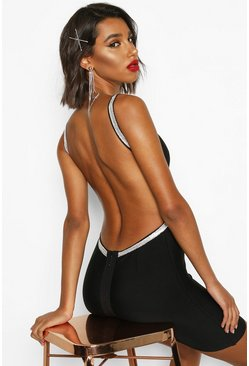 Womens Black Bandage Diamante Backless Mini Dress