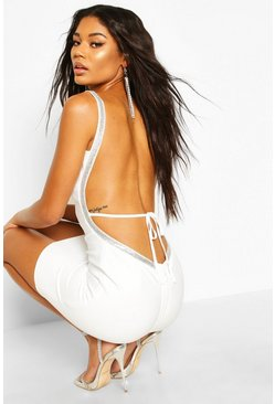 Womens White Bandage Diamante Backless Mini Dress