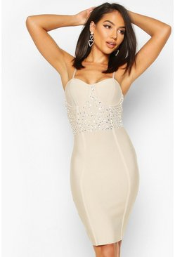 Womens Nude Bandage Crystal Detail Mini Dress