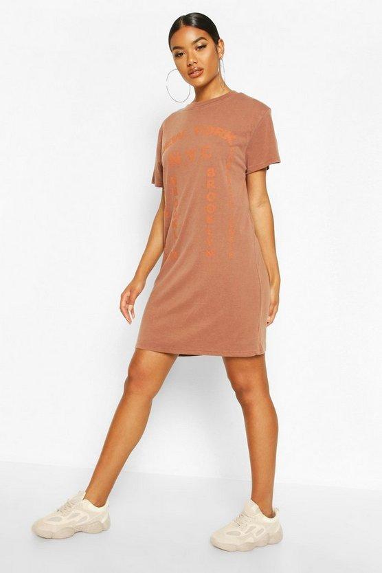 Tonal Printed Washed T-Shirt Dress