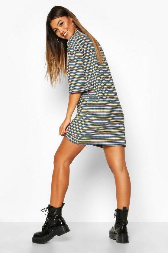 Multi-Colour Stripe Oversized T-Shirt Dress