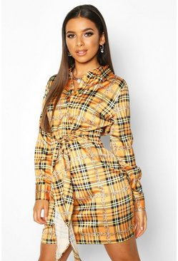 Womens Mustard Satin Check Chain Tie Front