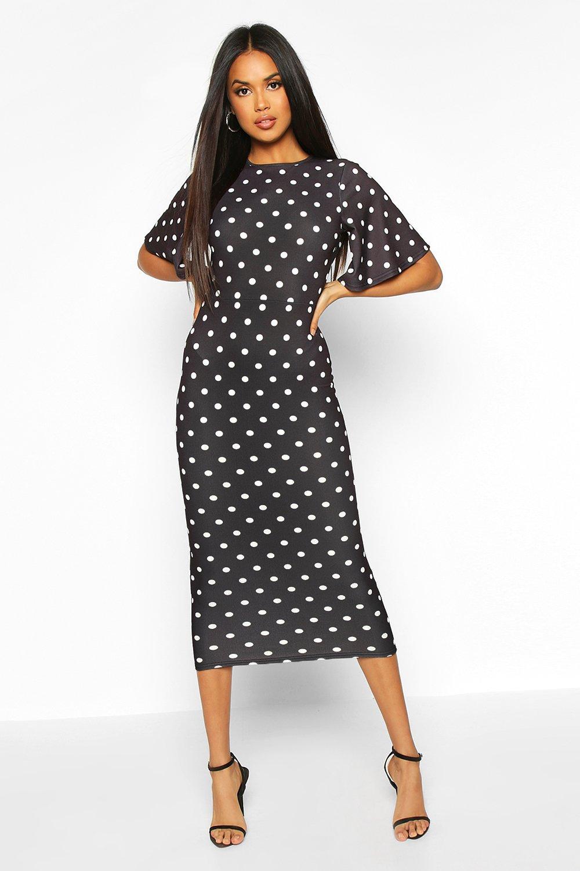 Vintage Polka Dot Dresses – 50s Spotty and Ditsy Prints Womens Polka Dot Flutter Sleeve Open Back Dress - black - 16  AT vintagedancer.com