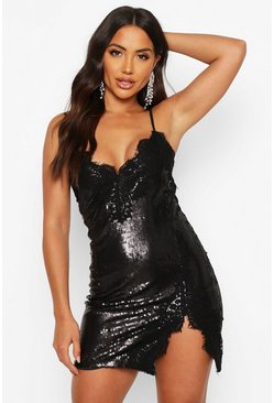 Womens Black Sequin Lace Mix Slip Mini Dress
