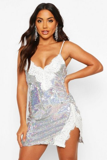Womens Silver Sequin Lace Mix Slip Mini Dress