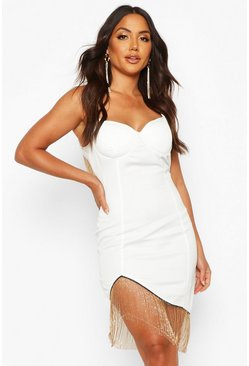 White Satin Cupped Metal Fringe Trim Mini Dress