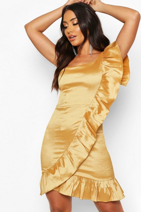 Gold Taffeta One Shoulder Ruffle Dress
