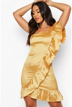 Womens Gold Taffeta One Shoulder Ruffle Dress