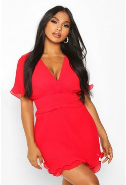 Womens Red Pleated Frill Hem Mini Dress