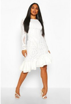 Womens White Sequin Baroque Ruffle Mini Dress