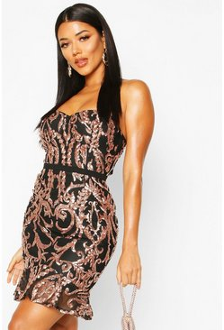 Dam Black Sequin Baroque Bustier Mini Dress