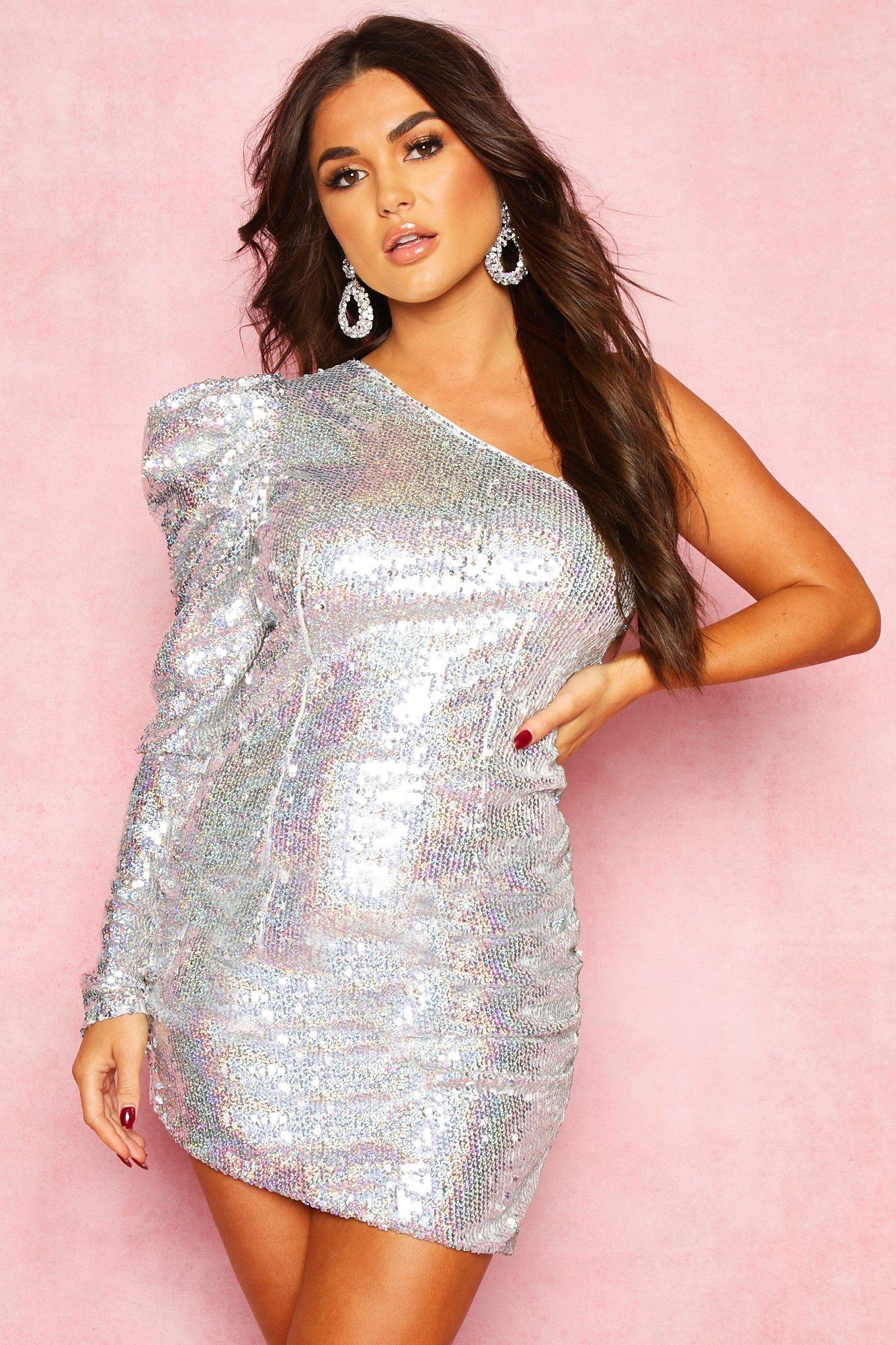 80s Dresses | Casual to Party Dresses Womens Sequin One Shoulder Extreme Puff Mini - Grey - 10 $32.00 AT vintagedancer.com