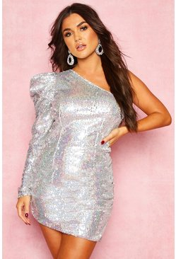 Womens Silver Sequin One Shoulder Extreme Puff Mini