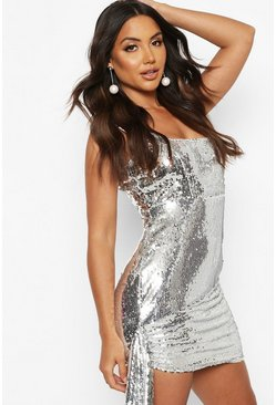 Womens Silver Sequin Square Neck Tie Wrap Mini Dress