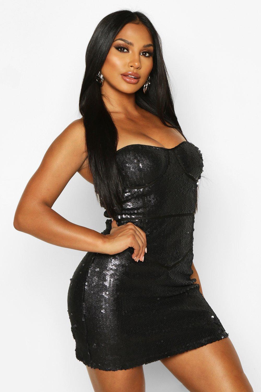 Glitter Sequin Bustier Mini Dress, Black