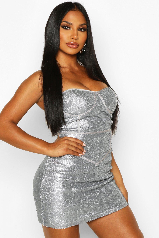 Glitter Sequin Bustier Mini Dress, Grey