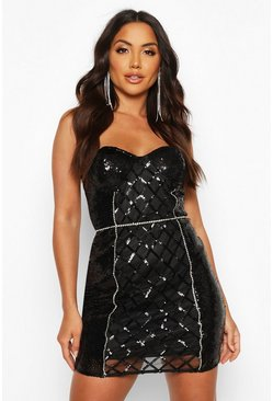 Black Sequin Diamonte Trim Check Cupped Mini Dress