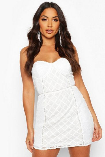 White Sequin Diamonte Trim Check Cupped Mini Dress