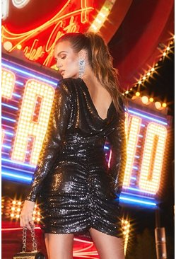 Womens Black Sequin Cowl Back Mini Dress