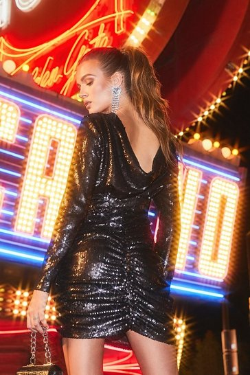 Black Sequin Cowl Back Mini Dress