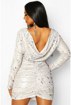 Womens Stone Sequin Cowl Back Mini Dress