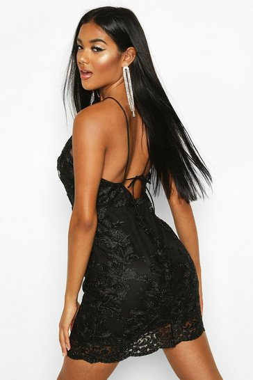 Black Mesh Lace Detail Strappy Back Mini Dress