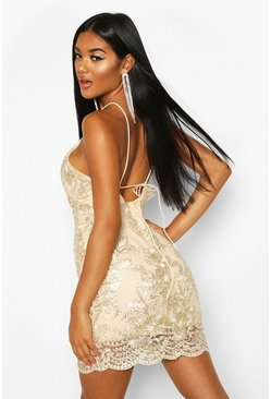 Womens Gold Mesh Lace Detail Strappy Back Mini Dress