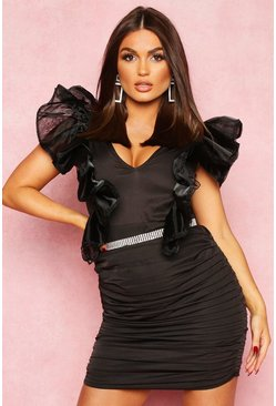 Dam Black Extreme Mesh Sleeve Plunge Mini Dress