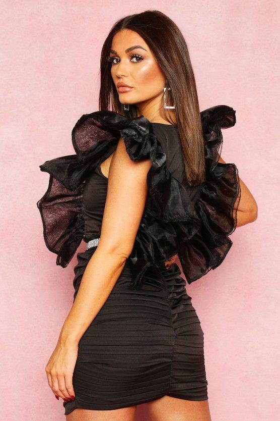 Extreme Mesh Sleeve Plunge Mini Dress