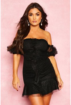 Black Sparkle Mesh Extreme Puff Sleeve Mini Dress