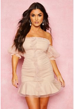 Womens Soft pink Sparkle Mesh Extreme Puff Sleeve Mini Dress
