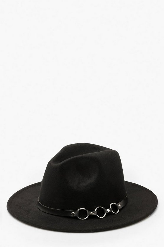 Black Ring Detail Fedora Hat