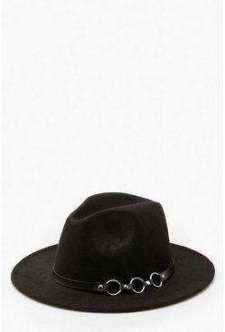 Ring Detail Fedora Hat, Black, FEMMES