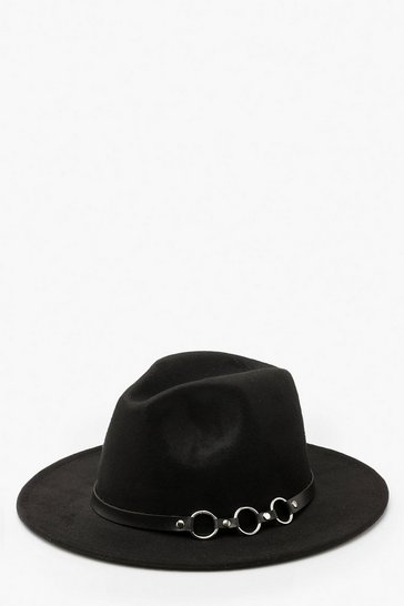 Womens Black Ring Detail Fedora Hat