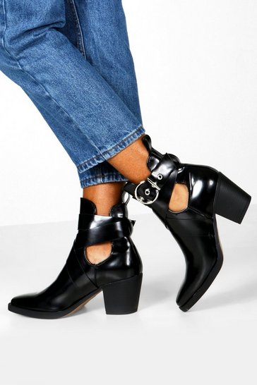 Black Cut Out Buckle Strap Block Heel Western Boots