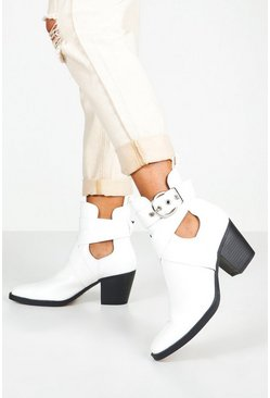 Womens White Cut Out Buckle Strap Block Heel Western Boots