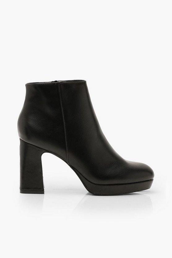 Block Heel Platform Shoe Boots
