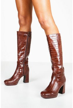Womens Brown Croc Block Heel Platform Knee High Boots