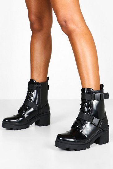 Black Buckle Strap Chunky Hiker Boots