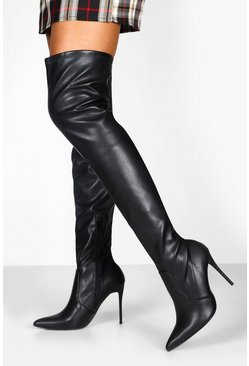 Black Stiletto Heel Over The Knee Boots