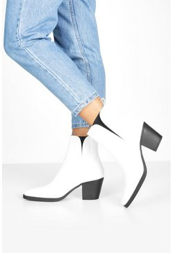 Womens White Block Heel Square Toe Western Boots