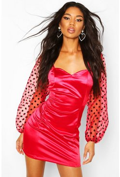 Womens Red Organza Split Puff Sleeeve Mini Dress