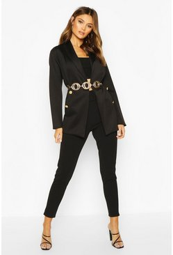 Womens Black Longline Button Detail Blazer