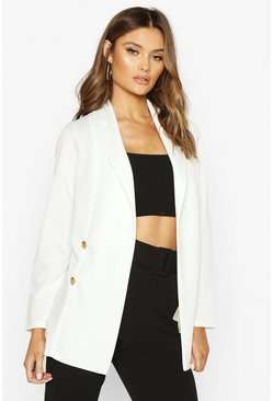 Womens Ivory Longline Button Detail Blazer