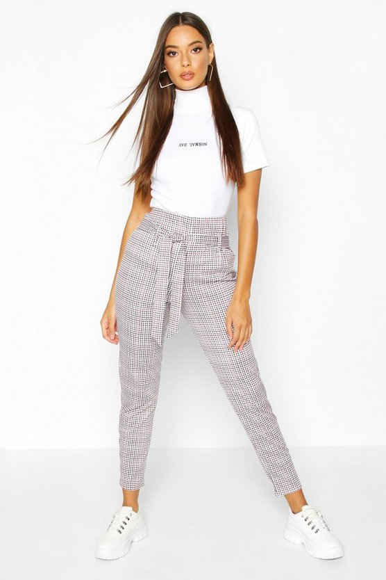 High Waist Belted Dogtooth Tailored Trouser