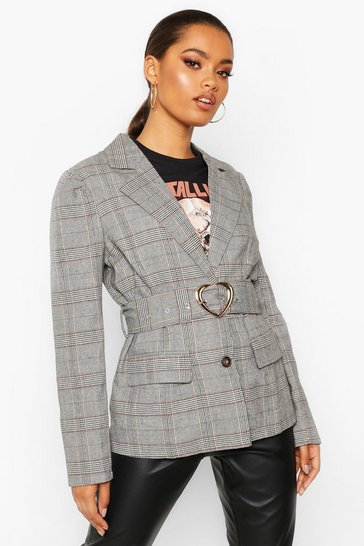 Womens Grey Checked Belted Blazer
